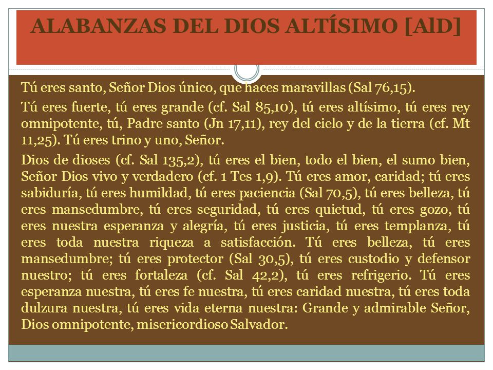 ALABANZAS DEL DIOS ALTÍSIMO [AlD]